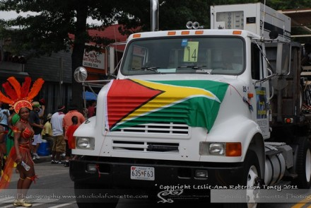 Guyanese flag on truck